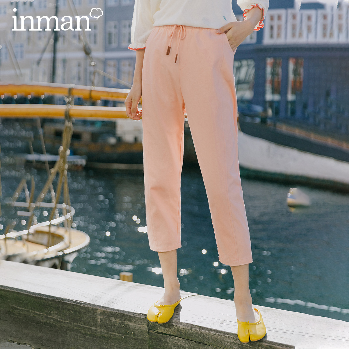 INMAN 2020 Spring New Arrival Literary High Waist Drawstring Elasticized Waist Loose Slimming Eight-cen Women Pant