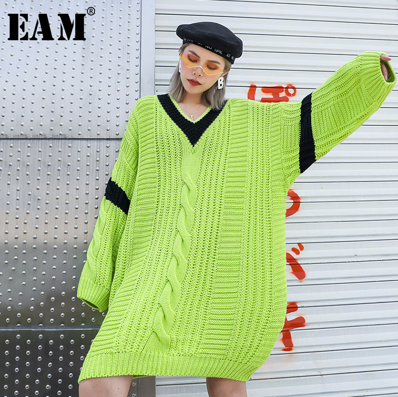 [EAM] Green Split Joint Oversized Knitting Sweater Loose Fit V-Neck Long Sleeve Women New Fashion Tide Autumn Winter 2019 1H3350