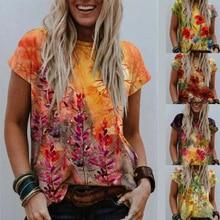 Summer Short Sleeve O-Neck Harajuku Tshirt Women Casual Floral Print Streetwear Tees Fashion Oversized Tops Female Loose T Shirt
