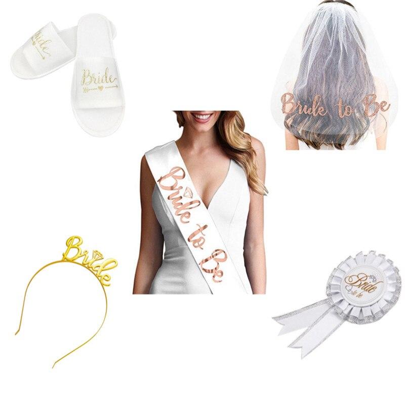 Bridal Shower Bachelor Party Supplies Veil Badge Belt Slipper Set Hen Night Team Bride To Be Wedding Decoration Bachelor Party-F