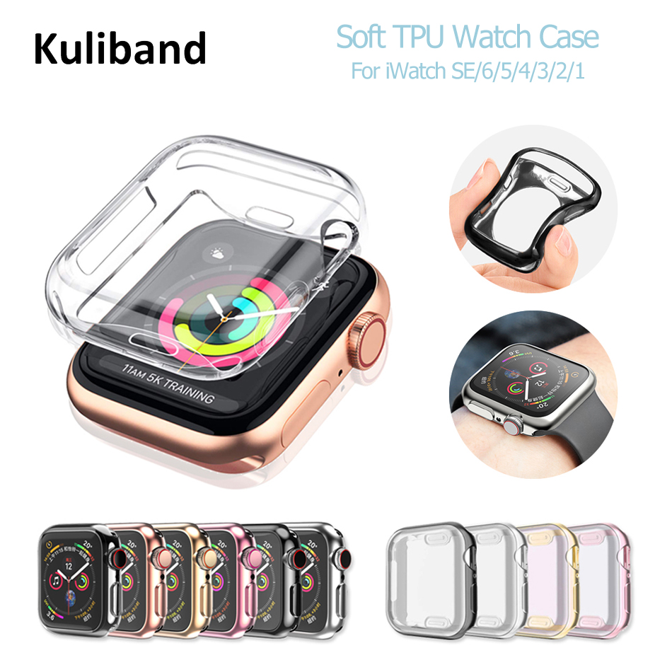 Чехол для часов Apple Watch SE/6/5/4/3/2/1 38 мм 40 мм, Мягкий защитный чехол из ТПУ с покрытием для iWatch Series 6 5 4 SE 42 мм 44 мм