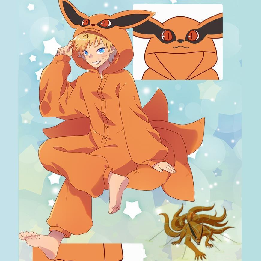 Anime Naruto Uzumaki Naruto Cosplay Costumes Kurama Pajamas Kyuubi Tail Jumpsuits Sleepwear Zipper Flannel Pyjamas Bathrobe New
