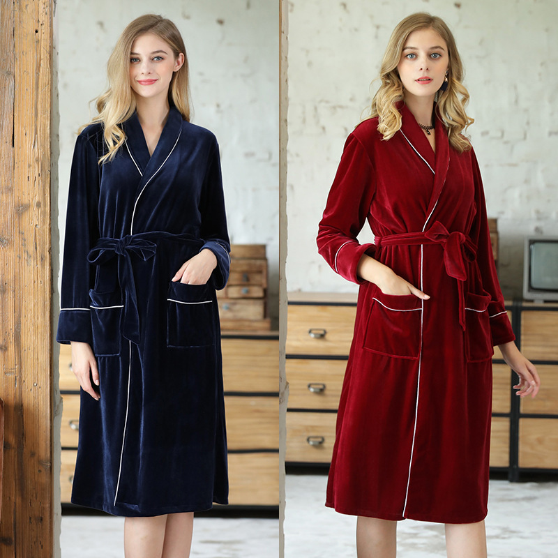 Yao Ting Autumn And Winter Gold Velvet Long Sleeve Women's Robes Red Marriage Pajamas Women's Home Wear 361x