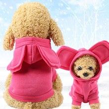 Invierno cálido grandes orejas de dibujos animados lindo jersey para mascota ropa perro gato ropa suministros