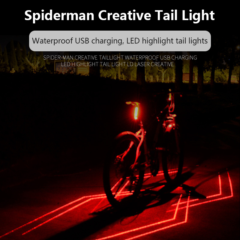 5LED USB Rechargeable Bicycle Rear Tail Light Mountain Bike Black Warning Lamps