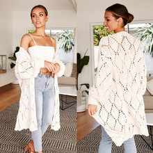 Knit Long Cardigan Sweater 2019 Hollow Winter Sweater Women Loose Oversized Casual Cardigan Bat Sleeve White Sweater Modis(China)
