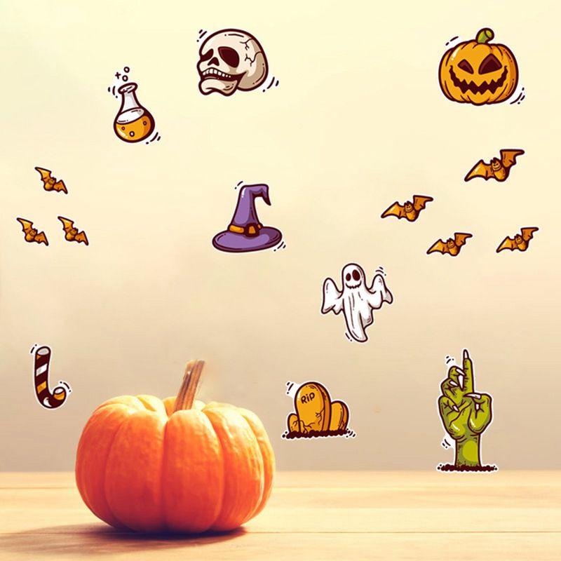 Мультфильм милый Хэллоуин стикер стены водонепроницаемый самоклеющиеся ПВХ наклейки для домашнего декора череп Тыква украшения - 2