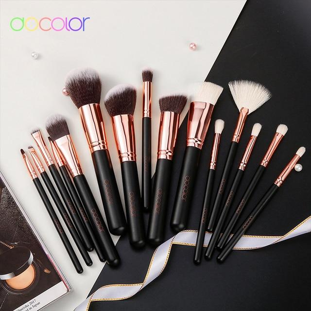 Docolor Rose Gold Makeup brushes set Professional Natural goat hair brushes Foundation Powder Contour Eyeshadow make up brushes 6