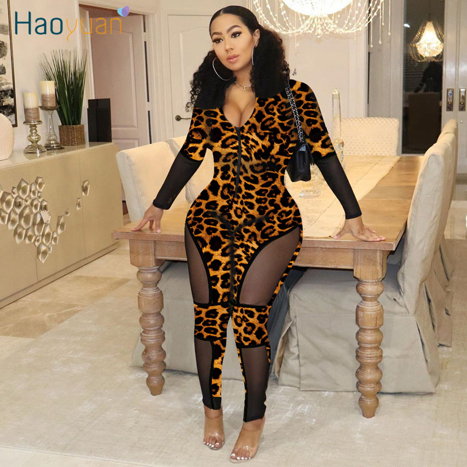 HAOYUAN Sexy Leopard Mesh Bodycon Jumpsuit 2020 Fashion Body Rave Clothes One Piece Overalls Long Sleeve Rompers Womens Jumpsuit
