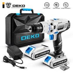 DEKO GCD18DU3 Электрическая отвертка аккумуляторная дрель ударная дрель Мощный драйвер 18-вольтовый DC литий-ионный аккумулятор 13 мм 50Н. М 2-скорост...
