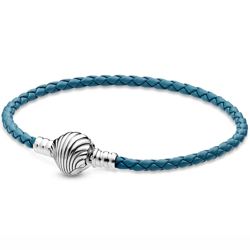 Original Moments Seashell Clasp Turquoise Leather 925 Sterling Silver Bracelet Fit Europe Bangle Bead Charm DIY Jewelry