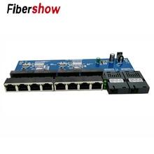 Convertidor de medios ópticos de fibra de interruptor Gigabit Ethernet PCBA 8 RJ45 UTP y 2 puertos de fibra SC 10/100/ 1000 M placa PCB