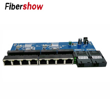 Gigabit Ethernet switch Fiber Optical Media Converter PCBA 8 RJ45 UTP and 2 SC fiber Port 10/100/1000M  Board PCB 1PCS