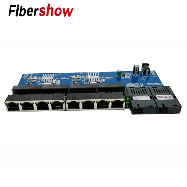 ギガビットイーサネットスイッチ繊維光メディアコンバータ PCBA 8 RJ45 UTP と 2 SC ファイバポート 10/100/ 1000 メートルボード PCB