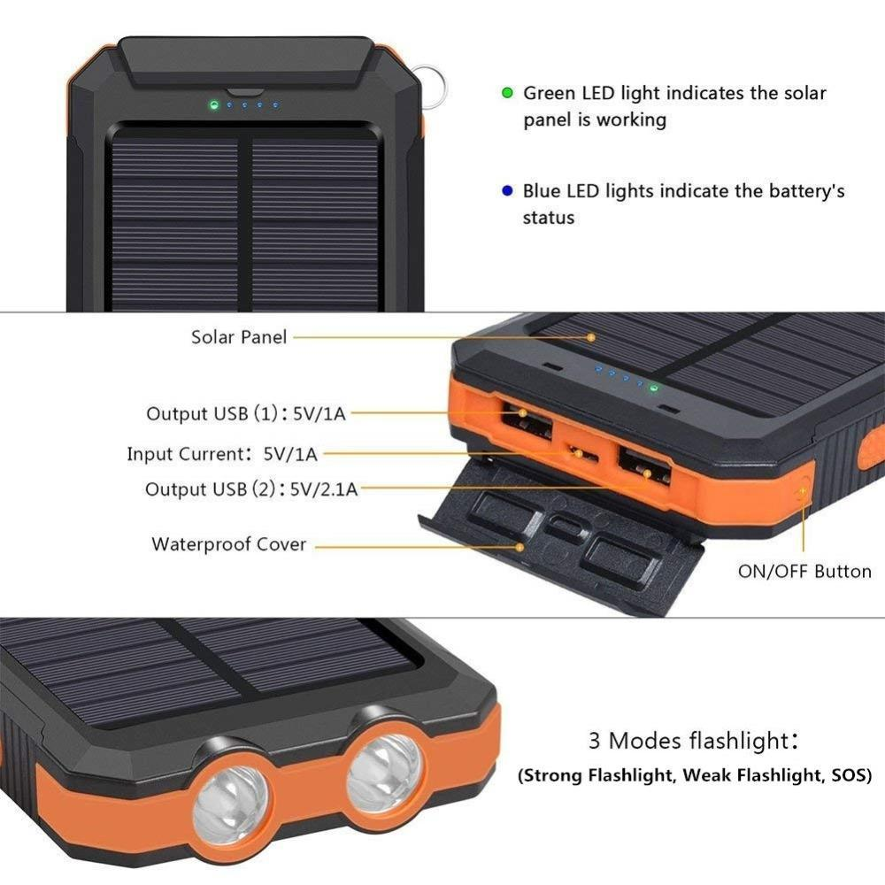 20000mAh High-Capacity Solar Power Bank with Polycrystalline Solar Panel and Dual LED Light 3
