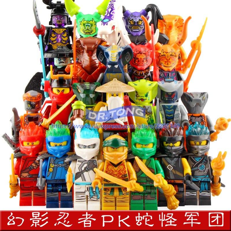 24 pièces Ninja figurines Lloyd Zane Kai Cole Jay Nya Vs Ultra Violet masque bloc de construction briques jouets pour enfants cadeaux DG1001