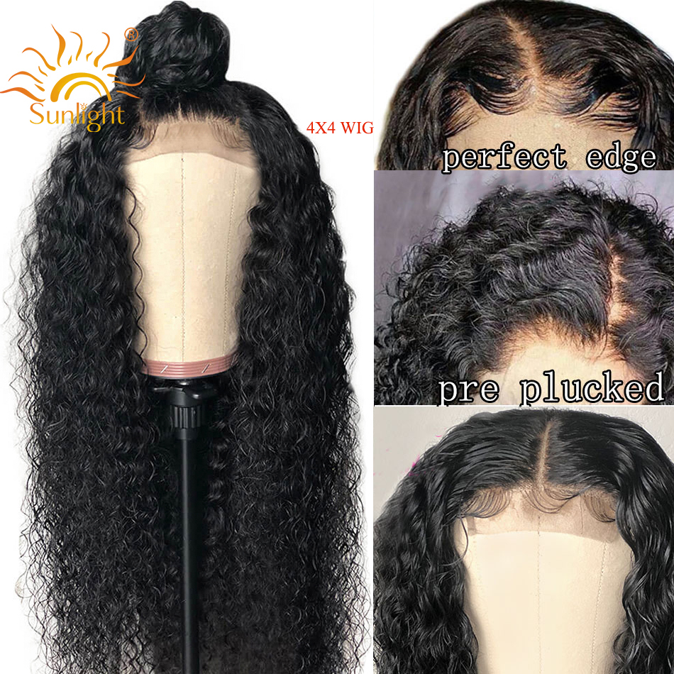 4x4 Closure Wig Curly Human Hair Wig For Black Women Deep Part Pre Plucked Lace Brazilian Sunlight Remy Hair Lace Closure Wigs