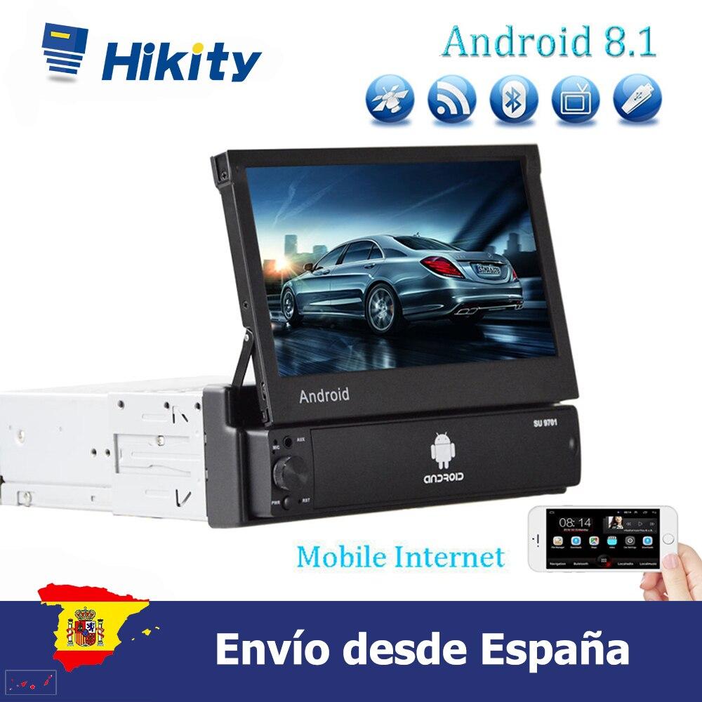 Hikity 7 Android 8,1 автомобильный Радио автомобильный мультимедийный плеер 1din поддержка сенсорного экрана GPS Wifi MP5 Bluetooth USB FM заднего вида