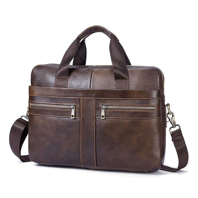 New 14 Inch Genuine Leather Handbag Briefcase Laptop Document Holder Men Business Women-Brown