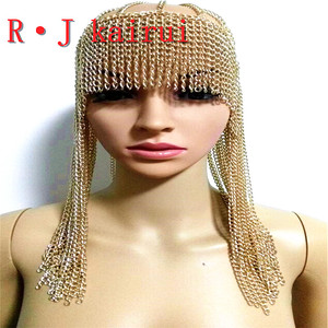 Image 1 - ใหม่แฟชั่นสไตล์WRB949ผู้หญิงสายรัดโซ่ทองชั้นใบหน้าโซ่เครื่องประดับคอสเพลย์ผมโซ่เครื่องประดับ3สี