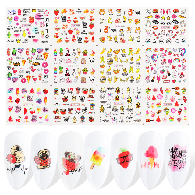 12pc Cake Ice Cream Sliders Water Stickers Set Nail Art Fruit Banner Dog Animal Foil Wraps Manicure Nail Decal Tip CHBN1585-1596