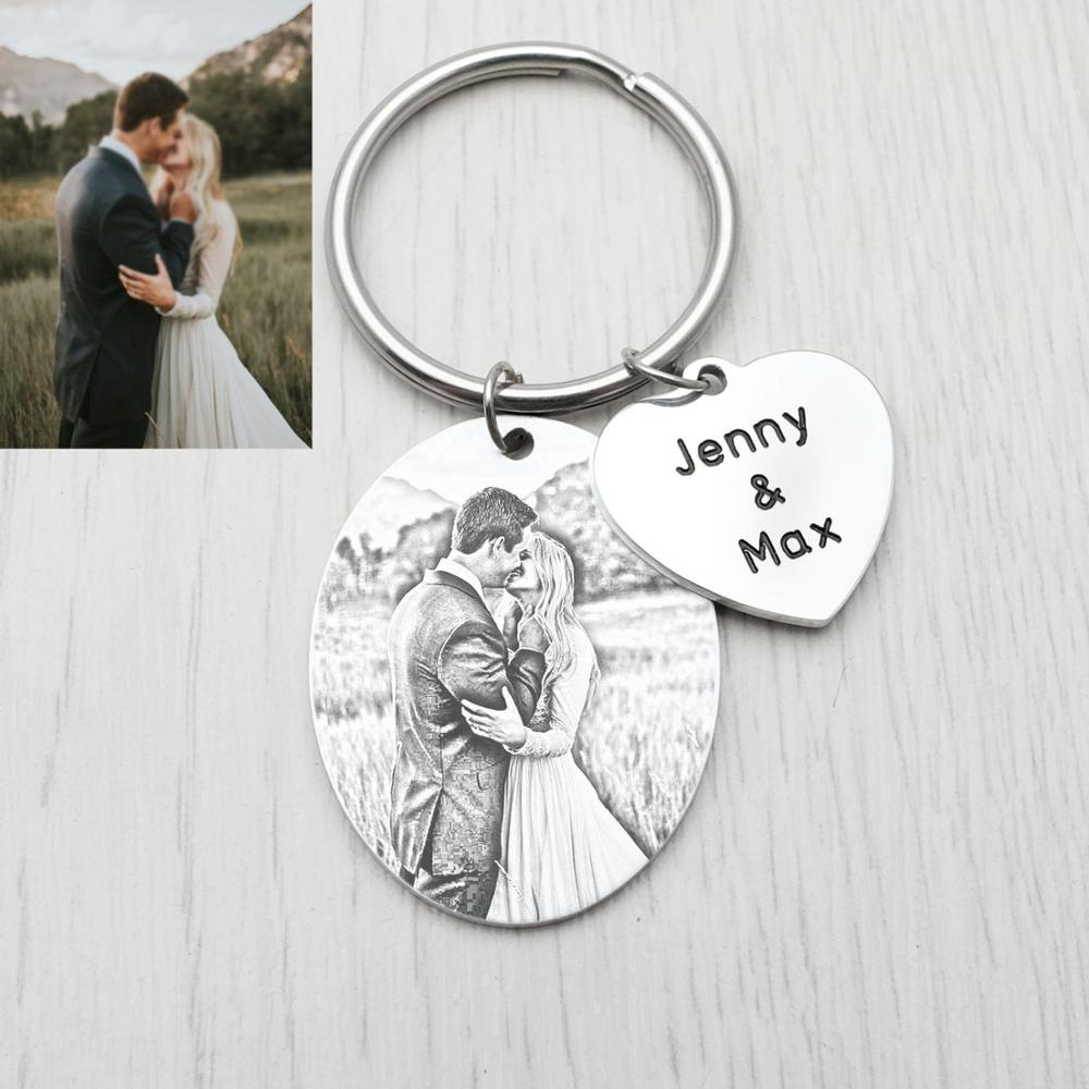 Personalized Photo Keychain,Custom Picture And Names Key Chain Holder,Wedding Anniversary Gift For Her Him,Couples Gift