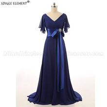 Royal Blue Chiffon Mother of The Bride Dresses V Neck Long Wedding Party