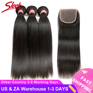 Image 2 - Sleek Brazilian Straight Hair Bundles With Closure Natural Color Hair Weave 8 28 30 Non Remy Human Hair 3 Bundles With Closure