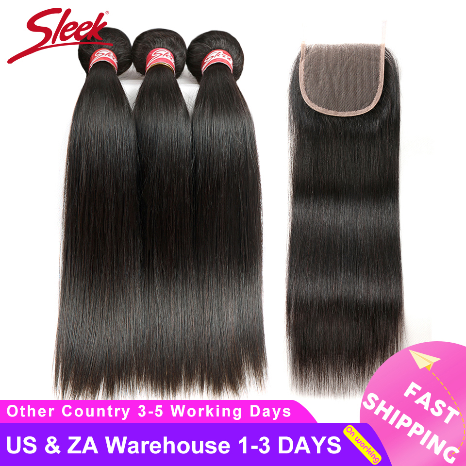 Sleek Brazilian Straight Hair Bundles With Closure Natural Color Short Hair Weave Non-Remy Human Hair 3 Bundles With Closure