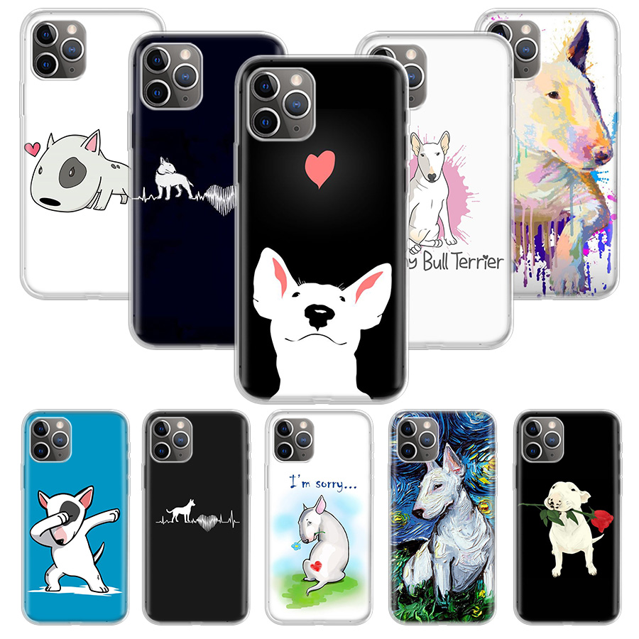 Bull Terrier Dog Puppies Phone Case For Apple iPhone 7 8 Plus 11 Pro 10 X XS XR 6 6S 5 5S SE Max Soft Clear Silicone