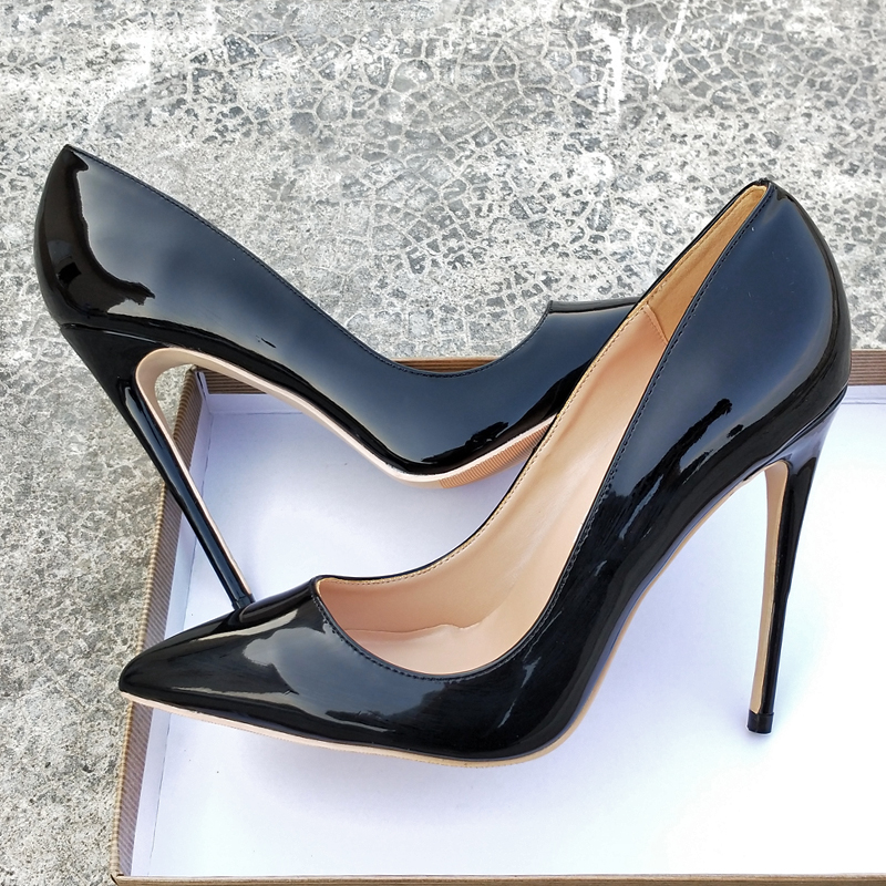 Keshangjia New Black Patent Leather PU High Heels 8cm 10 Cm 12 Cm Shallow Mouth Ladies Shoes Work Shoes