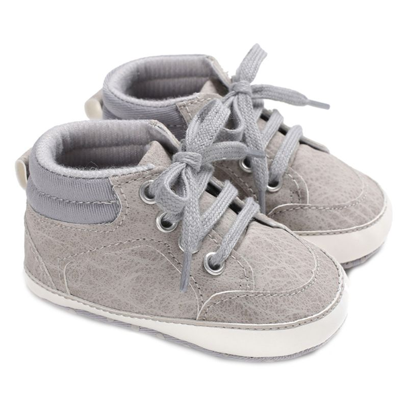 Infant Baby Boys High Top Faux Leather Sneakers Solid Color Lace Up Anti-Slip Soft Sole Toddler First Walkers Crib Shoes 0-18M