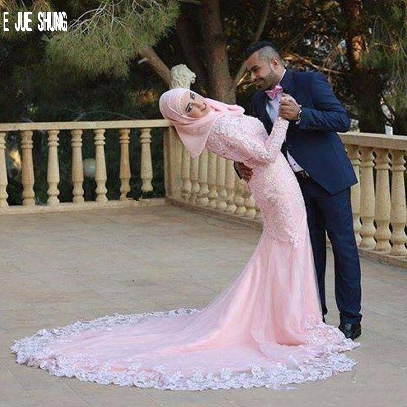 E JUE SHUNG Luxury Pink Muslim Wedding Dresses Long Sleeves High Neck Mermaid Bridal Gowns Lace Appliques Saudi Robe De Mariee
