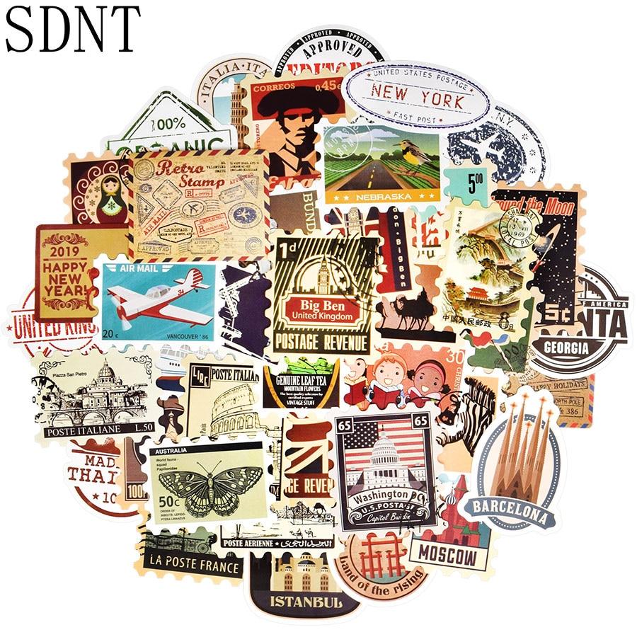 50 PCS Stamp Retro Sticker Travel Postmark Building Graffiti Waterproof Stickers For DIY Laptop Suitcase Skateboard Car Stickers