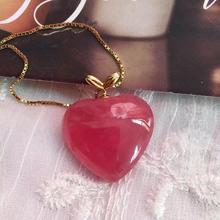 אמיתי טבעי אדום Rhodochrosite תליון WHeart אהבה 19x17x6mm נשים 18K מוצק זהב אהבה רייקי שרשרת אופנה נדיר חרוז AAAAA