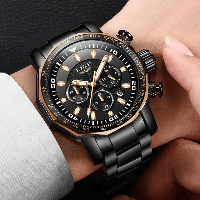 2020 Luik Fashion Business Heren Horloges Top Merk Outdoor Sport Quartz Klok Stalen Horloge Man Militaire Waterdicht Horloge Mannen