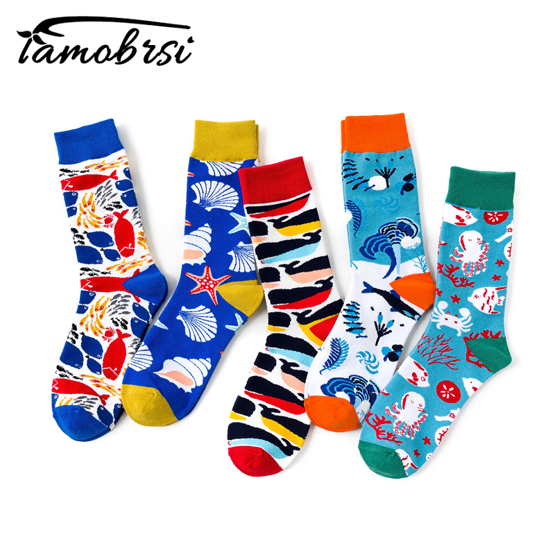 Creative Ocean Series Shark Colorful Creative Tube Personality Tide Socks Women Warm Funny Short Winter Cotton Happy Ankle Socks