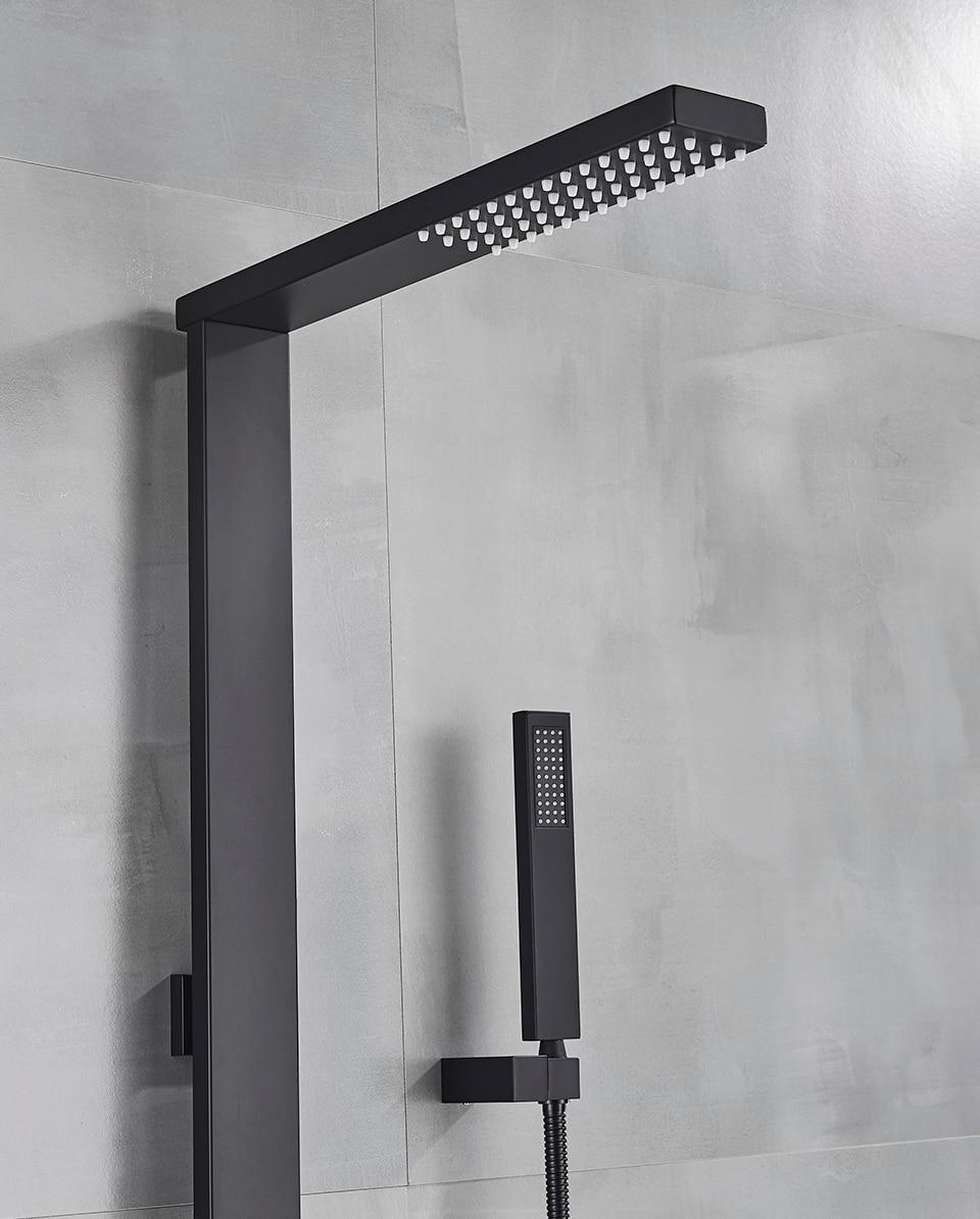 Hb3e201dc8f8d4b23970f8c0cf3c1a899U Uythner Luxury Matte Black Bathroom Faucet Bath Rain Shower Faucet Wall Mounted Bathtub Shower Mixer Bidet Tap Shower Set Mixer