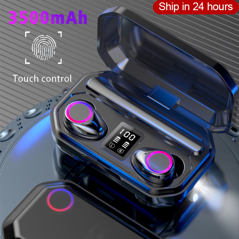 3500mAh Bluetooth Earphones Wireless Headphones Touch Control LED With Microphone Sport Waterproof Headsets Earbuds Earphone(China)