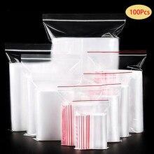 Sacs transparents en plastique à fermeture éclair, petits bijoux, 100 pièces/lot, sac Transparent refermable de stockage des aliments, sac d'emballage Transparent de cuisine