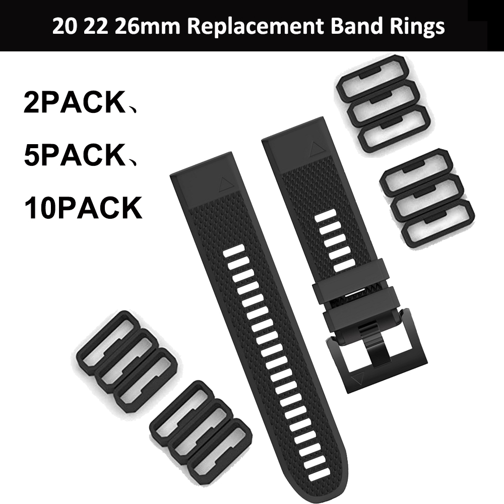 10pcs Black Rubber Clasp Keeper Ring Holder Loop Fastener Replacement For Garmin Fenix 6 6S 6X 5 5X 5S Plus/3/3HR Smart Watch