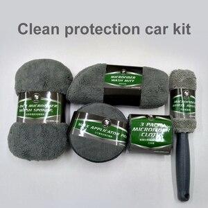 Image 2 - Kit de limpieza para coche, suministros de microfibra, toalla, detalle, cepillo de rueda de coche, esponja para encerar, combinación de herramientas de limpieza de coche