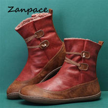 Zanpace 2020 leather winter snow boots resistant sole fur warm