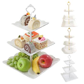 Europejski styl bankiet weselny trójwarstwowy talerz na owoce suszone talerz na owoce ciasto taca stołowa przechowywanie ciasto stojak deser stojak wystawowy tanie i dobre opinie CN (pochodzenie) Fruit Plates Kwiat Floral Dropshipping Tableware cake rack