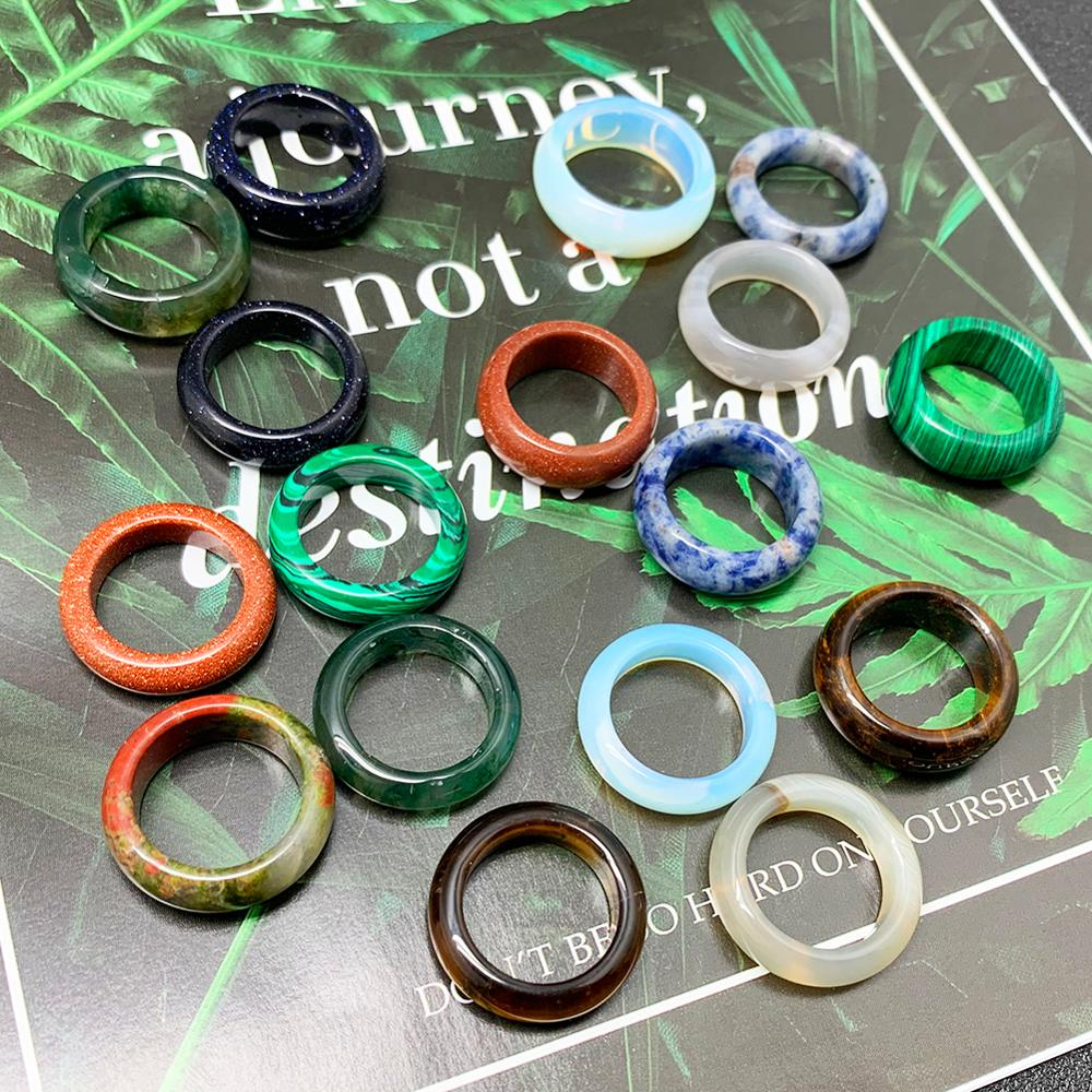 Кольцо с натуральным камнем для мужчин и женщин, элегантное ювелирное изделие с натуральным камнем разных цветов, 18 мм