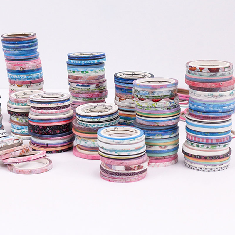 100 Rolls Washi Tape Foil Gold Skinny Decorative Masking Scrapbooking Washi Tapes DIY Handbook Masking Tape