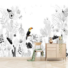 Custom 3D Mural Wallpaper French Landscape Tropical Rainforest Animals and Plants Living Room Dining Room Background Wall