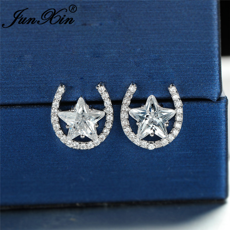 Cute Clear Star Stud Earrings For Women White Gold Yellow Rose Gold Color White Zircon Wedding Ear Studs Vintage Party Jewelry