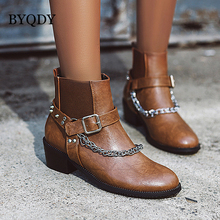 BYQDY Sexy Rivet Winter Buckle Strap Ankle Boots Chunky Mid Heel Chain Autumn Booties Studded Round Toe Plus Size 34-48 Discount