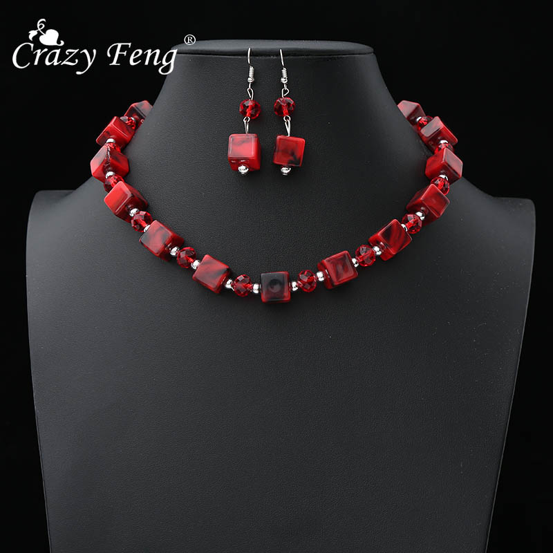 2019 Brand Vintage Stone Beaded Bridal Jewelry Sets Women Ladies Chokers Long Drop Earrings Set Wedding Accessories NE EA in Jewelry Sets from Jewelry Accessories